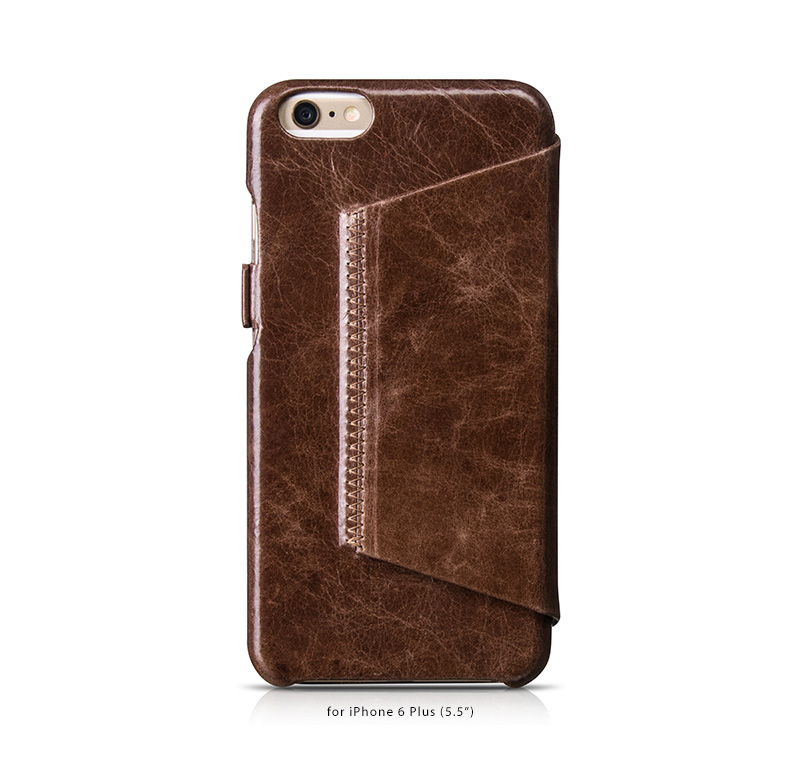 HOCO Cases for iPhone 6 Plus with flip cover-Italian imported oil wax cowhide leather. With Stand Feature
