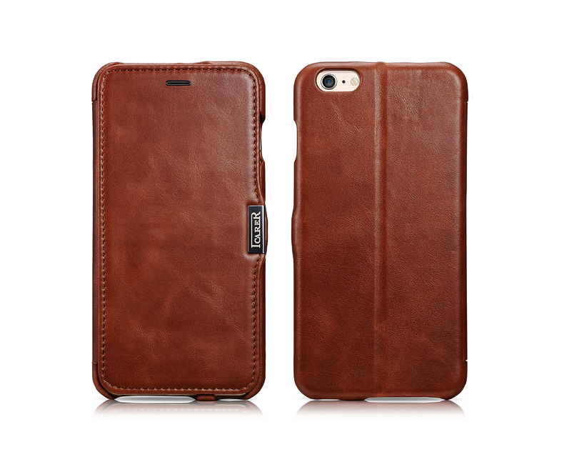iCarer Genuine Imported Cowhide Leather Protective Cases with Flip Cover for iPhone 6/6 Plus iPhone 6S/6S Plus, Ultrathin Slim Design. Stand feature. Magnetic Closure to ensure close tightly.