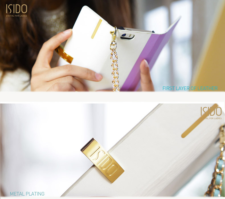 isido iPhone 6 Protective Cases - Luxury Leather Purse Style-with handmade metal and leather braided strap