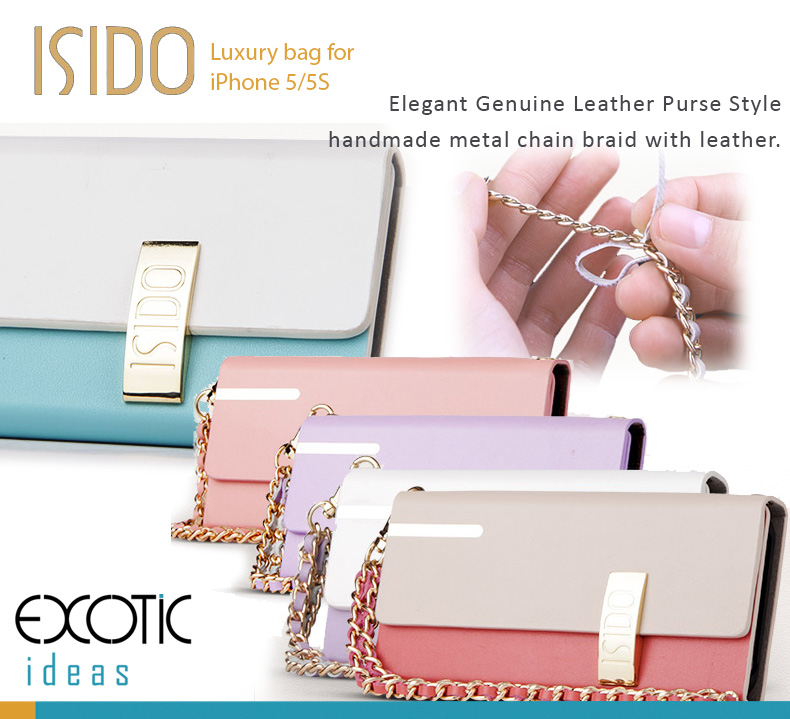 isido iPhone 5/5S Protective Cases - Luxury GenuineLeather Purse Style-with handmade metal and leather braided strap