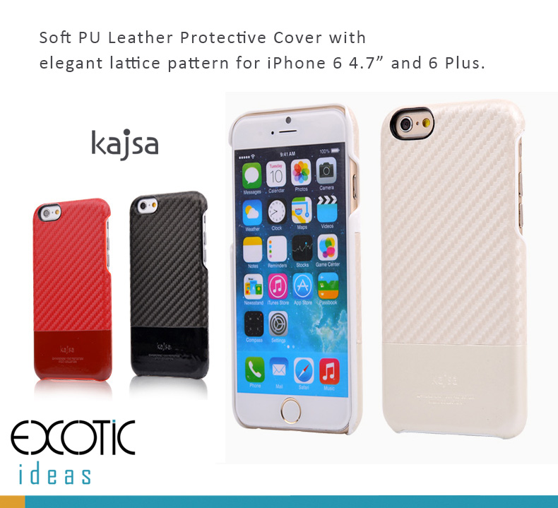 Kajsa Leather Protective Case with Lattice Patten Design for iPhone 6/6S and iPhone 6/6S Plus