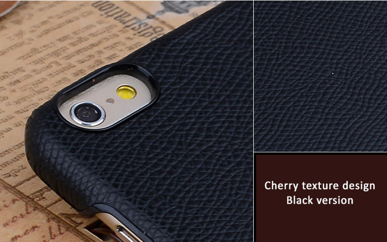 Kajsa Leather Protective Case with Cherry Texture Design for iPhone 6 and iPhone 6 Plus