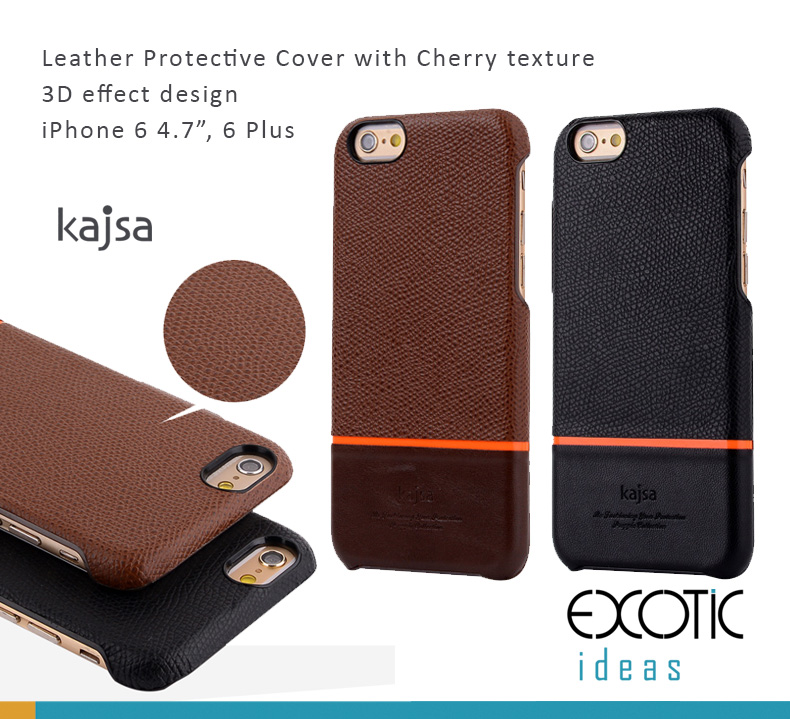 Kajsa Leather Protective Case with Cherry Texture Design for iPhone 6/6S and iPhone 6/6S Plus