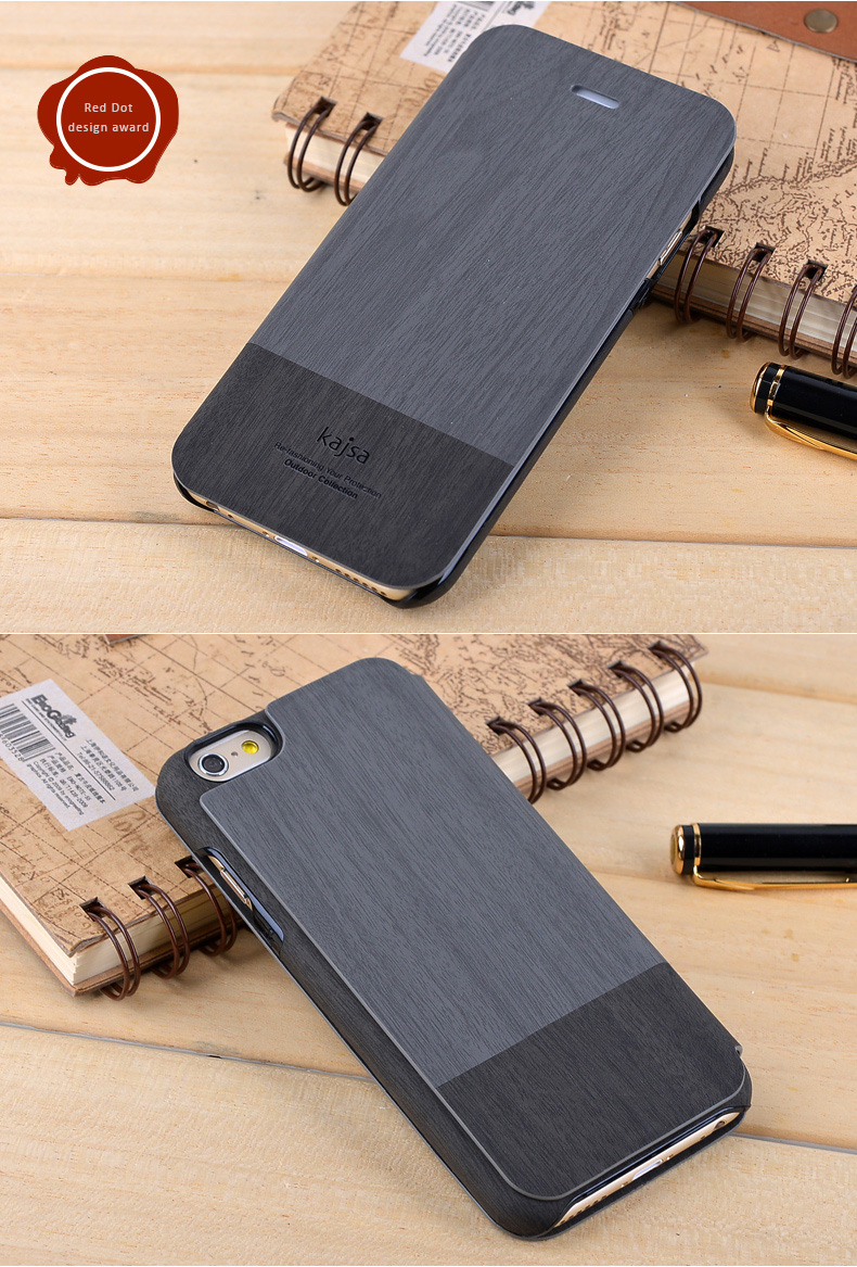 Kajsa Leather Protective Case with Flip Cover for iPhone 6 and iPhone 6 Plus - Wooden Pattern, Red Dot Award Design