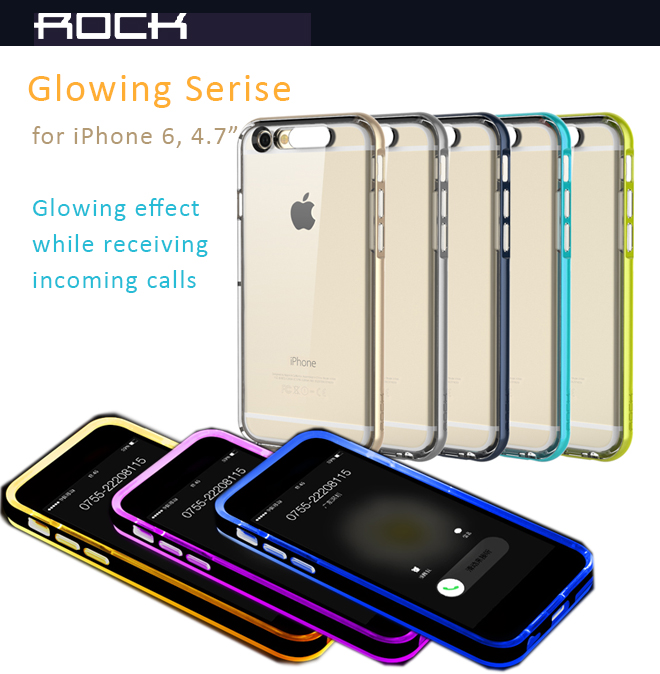 "Rock Glowing Series for iPhone 6 - 4.7"" Protective Case with Incoming call flashing feature. Eco friendly TPU, Anti-Shock, Anti-Droping Impact, Anti-Scratches"