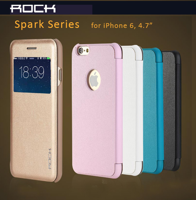 "Rock Quality Leather Protective Cases or iPhone 6 - 4.7"", Flip Cover Design, Anti-Shock, Anti-Droping Impact, Anti-Scratches"