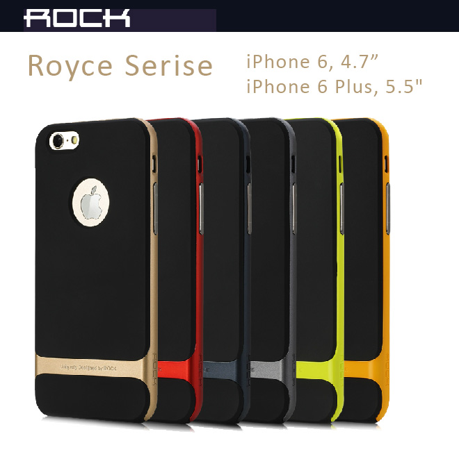 "Rock Cases Royce Series for iPhone 6 - 4.7"" and iPhone 6 Plus - PC + TPU Ultrathin and double-deck combo layers, Anti-Shock, Anti-Scratches"