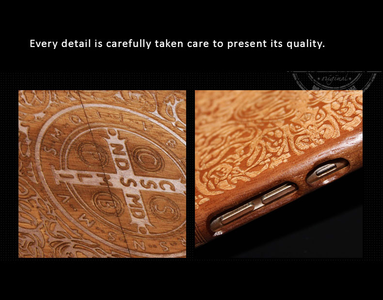 Natural wooden cases for iPhone 6, 6plus with Christian Sacramental Symbols Carved -  Options: Walnut, Rosewood, Black Sandalwood