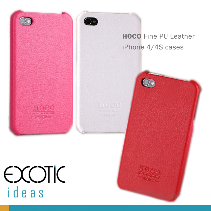 iPhone 4 4S Leather iPhone Case Skin - HOCO Fine PU Leather with Fine Fiber inner -Red, Pink, White