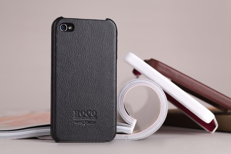 iPhone 4 4S Leather  iPhone Case Skin - HOCO  Fine PU Leather  with Fine Fiber inner -Black