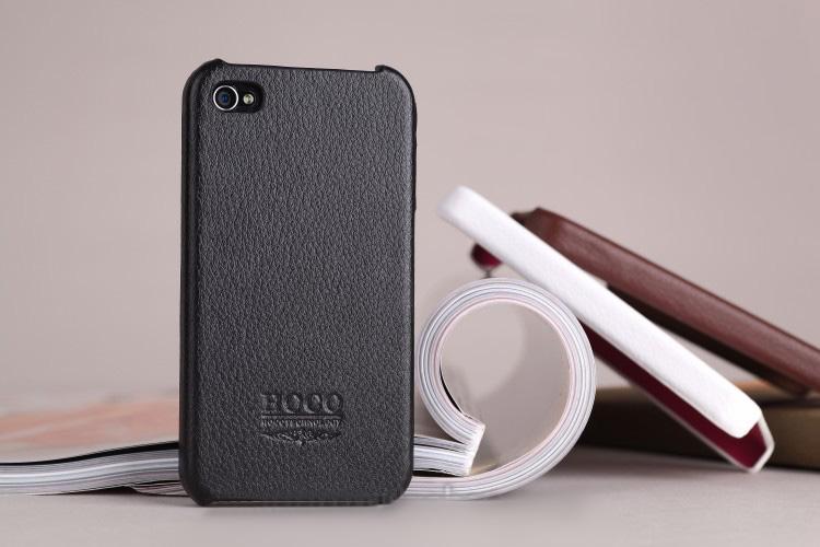 iPhone 4 4S Leather  iPhone Case Skin - HOCO  Fine PU Leather  with Fine Fiber inner -Black