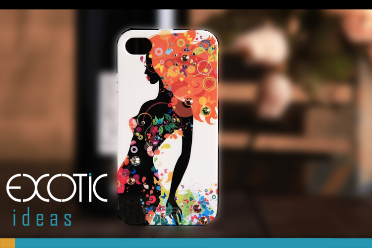 iPhone 4 4S Phone Case Skin -Oskar  Gloss Varnish Hard Case with Fine Painting and Crystal Set