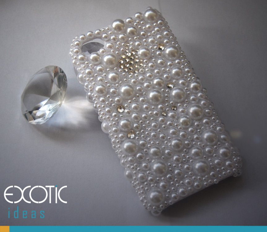 Phone 4 4S Phone Case Skin -3D White Pearls Case with  Swarovski Crystal Rhinestone Apple Logo Set