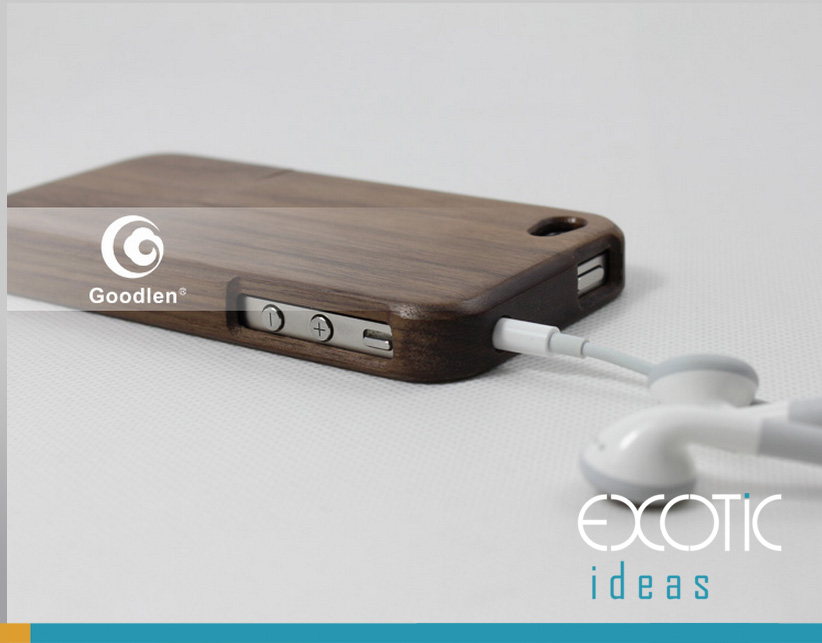 Goodlen Wooden iPhone 4/4S Case Skin -Handmade Wooden Cases, Walnut, Rosewood, White Maple, Cherry Wood, 4 Choices -Two Pieces