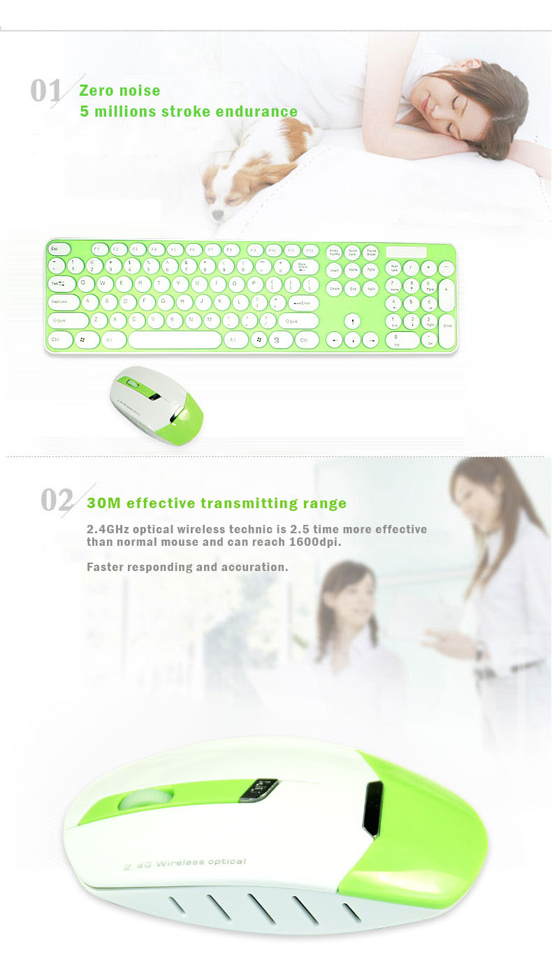 2.4 GHz Optical wireless keyboard and mouse set, Built-in smart chip 18 months endurance . Nano receiver, Plug and Play