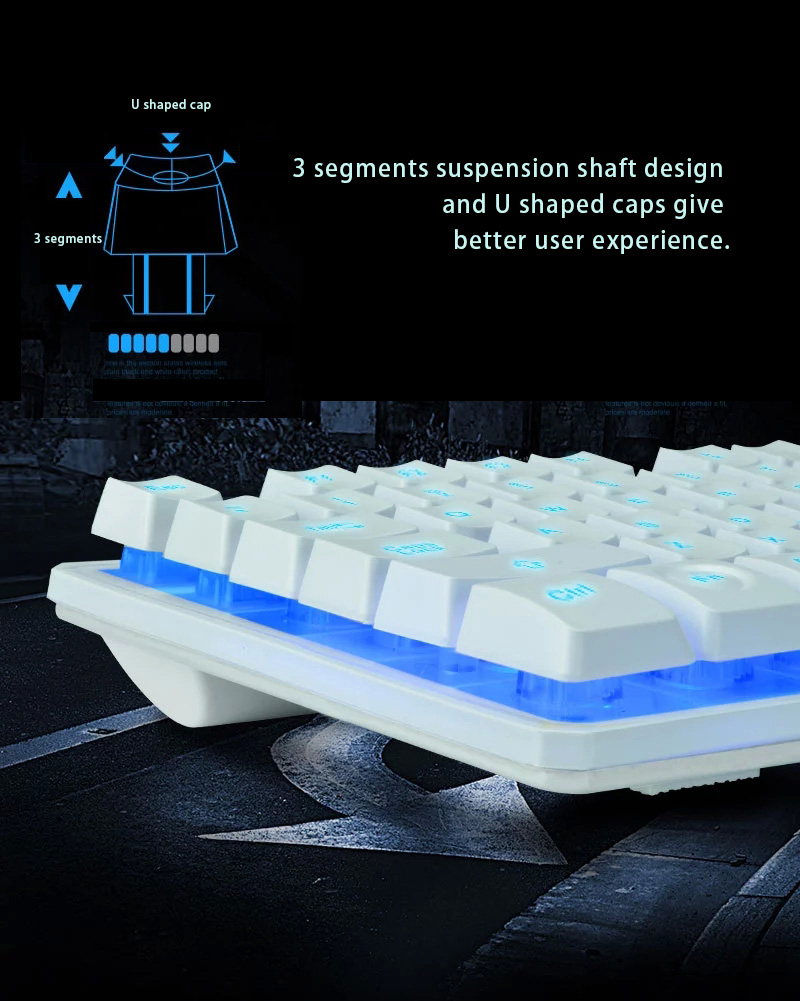 Backlit Gaming Keyboard with 3 cool backlight colors- adjustable brightness and ergonomic suspension design for long time using without harming