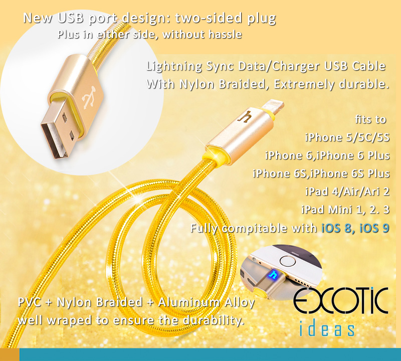 Lightning Sync Data/Charger USB Cable for iPhone 5/5C/5S, iPhone 6/6 Plus,iPhone 6S/6S Plus, iPad Air iPad Air 2, iPad Mini 1,2,3 -Two-sided Plug Port Design - PVC+Nylon Braided+Aluminum cable, extremely durable.