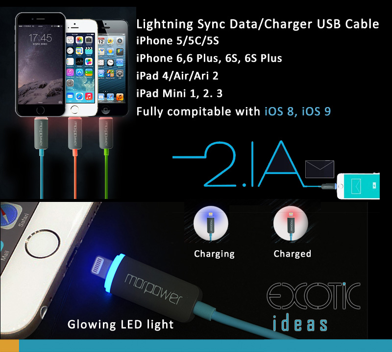 LED Glowing Lightning Sync Data/Charger USB Cable for iPhone 5/5C/5S, iPhone 6/6 Plus and iPad Air iPad Air2, iPad Mini  1,2,3 TPE + Copper wire for high performance and stability.