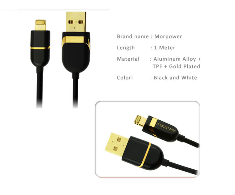 Lightning USB Cable for iPhone 5/5C/5S, iPhone 6/6 Plus and iPad Air iPad Air2, iPad Mini, made of gold plated allumium alloy and copper wire for high performance and stabilities
