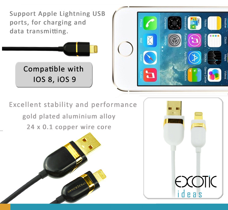 Lightning USB Cable for iPhone 5/5C/5S, iPhone 6/6 Plus and iPad Air iPad Air2, iPad Mini, made of gold plated aluminum alloy and copper wire for high performance and stability.