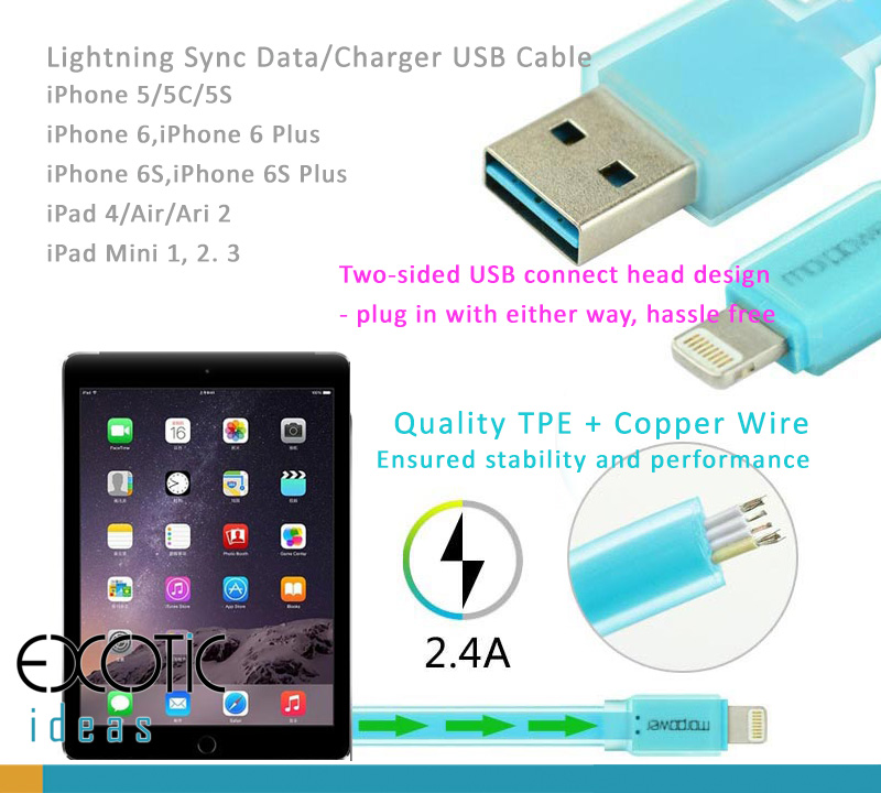 Lightning Sync Data/Charger USB Cable for iPhone 5/5C/5S, iPhone 6/6 Plus and iPad Air iPad Air2, iPad Mini 1,2,3  -Two-sided USB connect head design - plug in with either way, hassle free