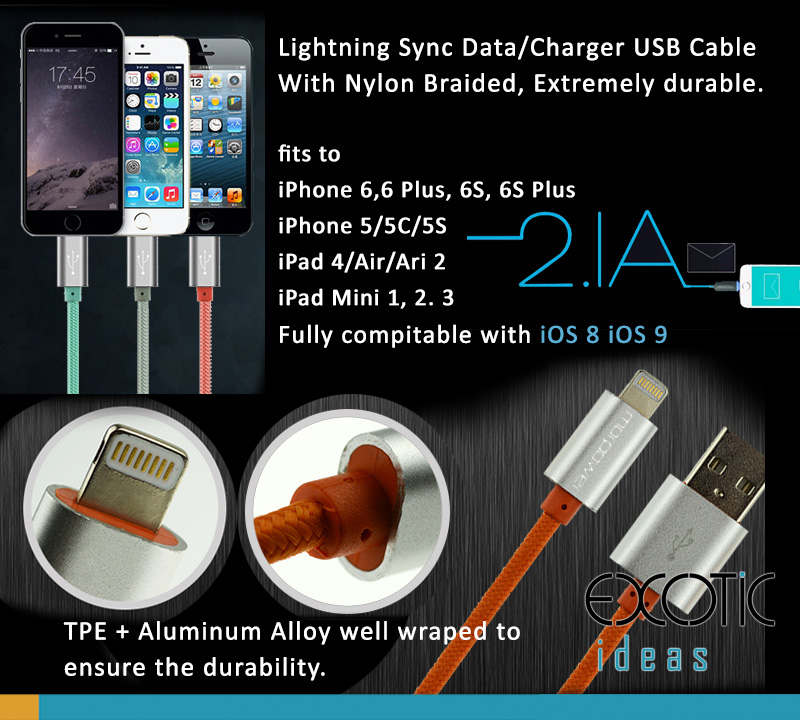Lightning Sync Data/Charger USB Cable for iPhone 5/5C/5S, iPhone 6/6 Plus and iPad Air iPad Air2, iPad Mini 1,2,3  - Nylon Braided Cable+PTE+Aluminum Alloy Casting USB Head - Extremely durable