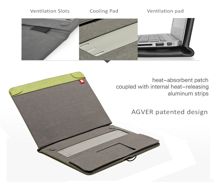 "AGVEREco Friendly Protective Cases Covers for MacBook Air & Pro, Pro Retina 11.6"" to 13.3"" - Cation foam fabric,  Ultra Light"