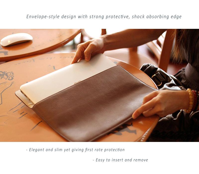 Elegant, Simple Cut Stylish Dopmp Design, Genuine Leather Protective Sleeve for your treasured MacBook Air & Pro, Pro Retina