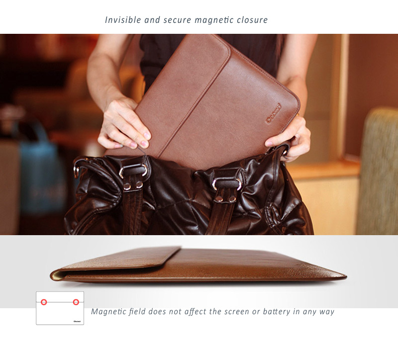 Elegant, Simple Cut Stylish Dopmp Design, Genuine Leather Protective Sleeve for your treasured MacBook Air & Pro