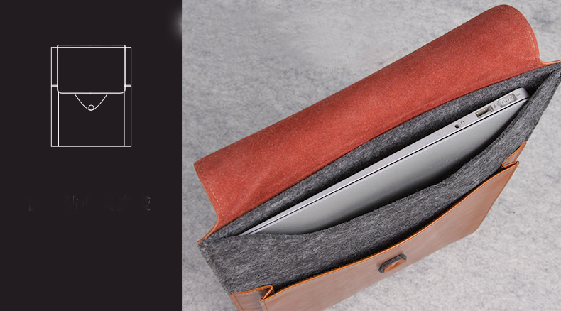"Genuine Leather + Wool Envelope Style Sleeve Bags Cases for new MacBook 12"" - Postman series"