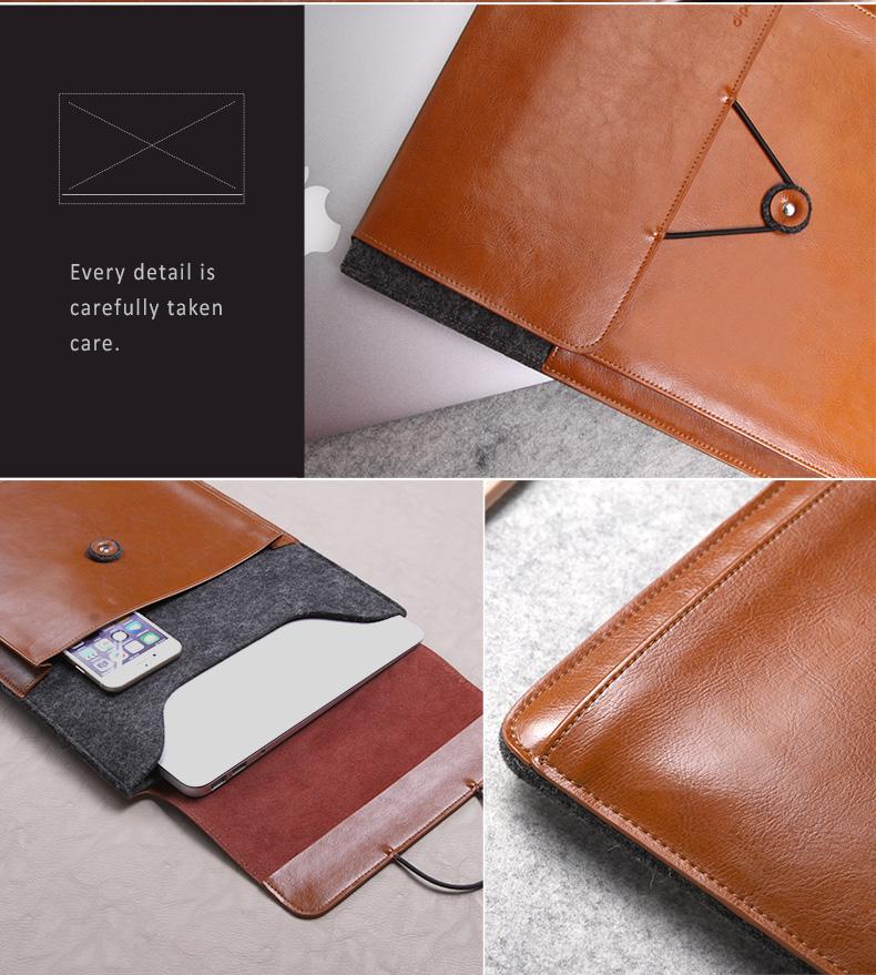 "Genuine Leather + Wool Envelope Style Sleeve Bags Cases for new MacBook 12"" - Postman series"
