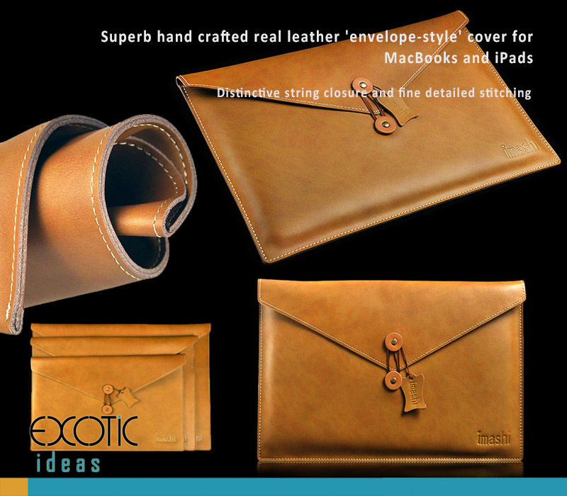 Hand Crafted Genuine Leather  Envelope Style Cover Protective Sleeve Bags for MacBook Air & Pro, Pro Retina and iPads - Landscape