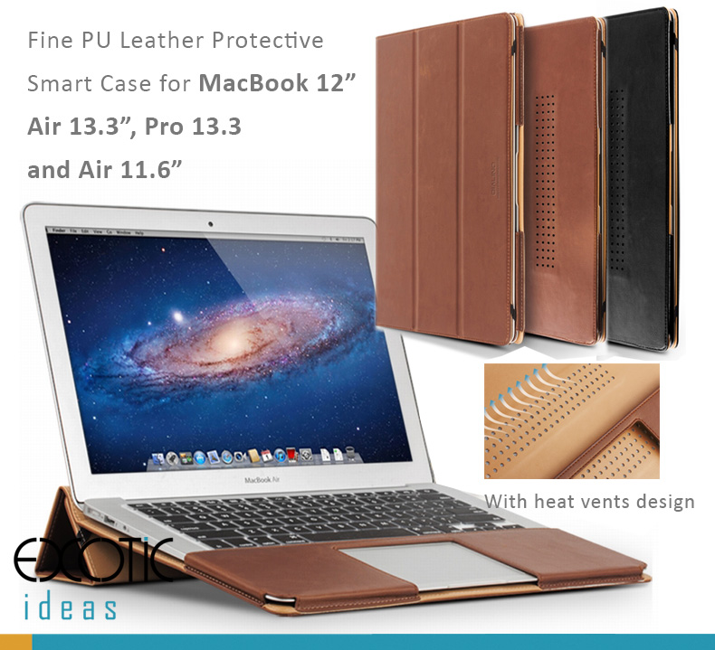 "Genuine Cowhide Leather Protective Cases for MacBook 12"", MacBook Air 13.3"", Pro 13.3"" and Air 11.6"" - with Heat Vents Design and Stand Features"