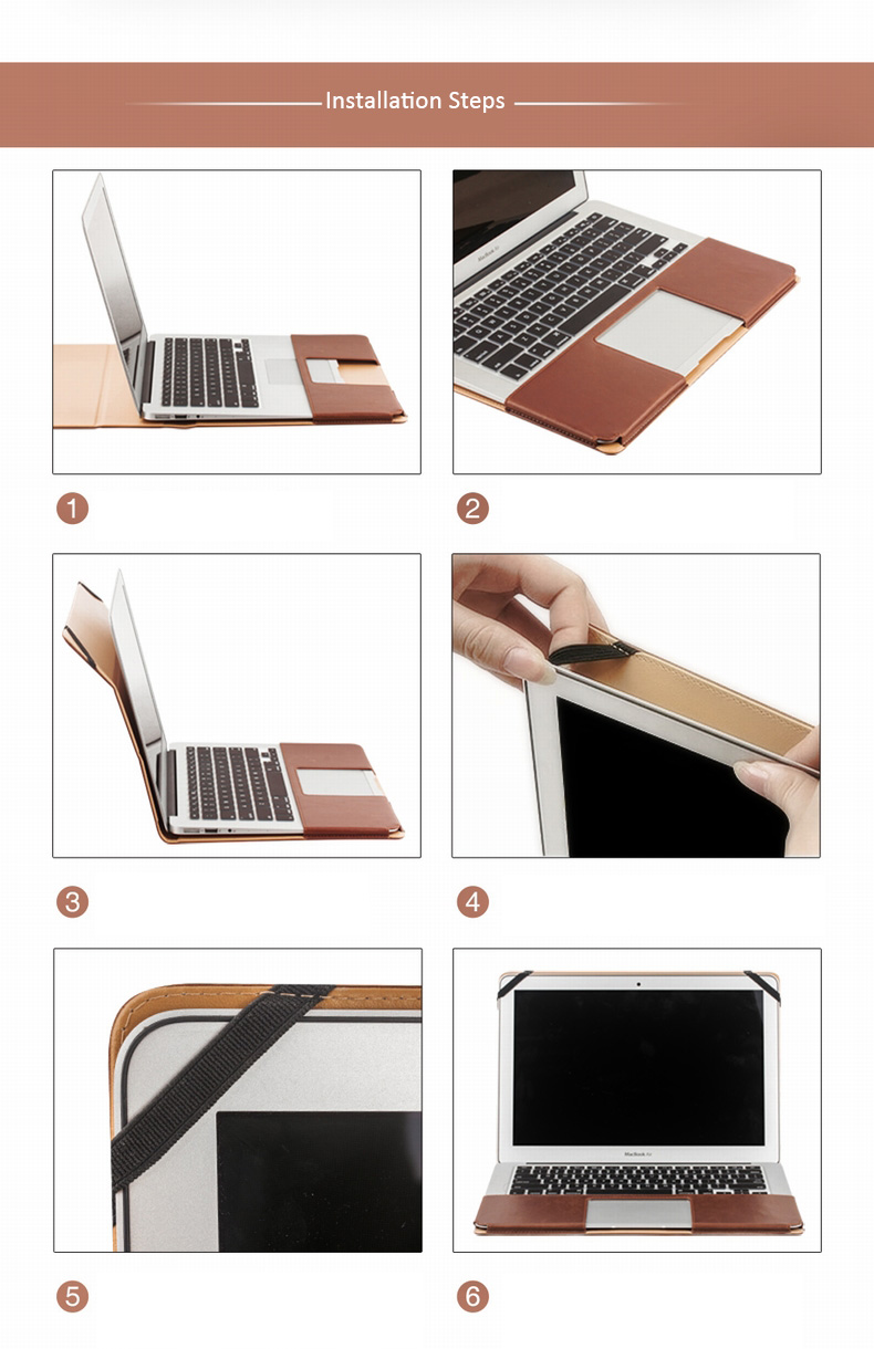 "Genuine Cowhide Leather Protective Cases for MacBook 12"" and MacBook Air 13"" - with Heat Vents Design and Stand Features"