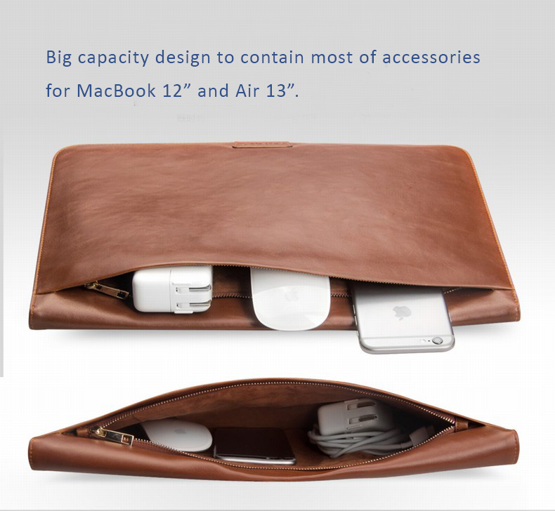 "Genuine Cowhide Leather Protective Sleeve Bags for MacBook 12"" and MacBook Air 13"" - with Stand and Hibernating Features"
