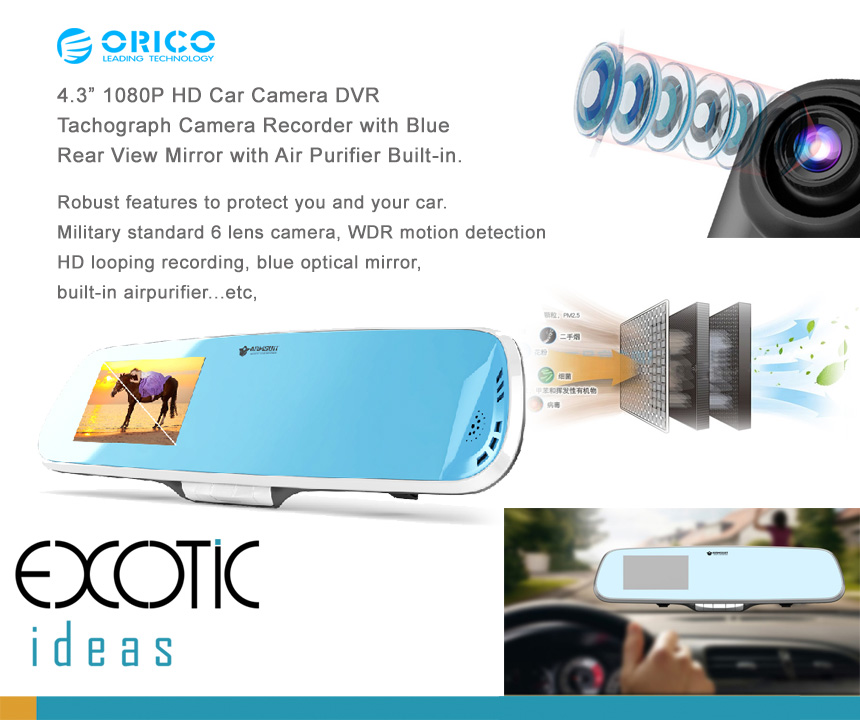 "4.3"" 1080P HD Car Camera DVR Tachograph Camera Recorder with Blue  Rear View Mirror with Air Purifier Built-in.  Robust features to protect you and your car. Military standard 6 lens camera, WDR motion detection HD looping recording, blue optical mirror, built-in airpurifier...etc,"