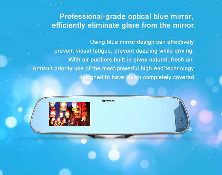 "4.3"" 1080P HD Car Camera DVR Tachograph Camera Recorder with Blue  Rear View Mirror.  Robust features to protect you and your car. Military standard 6 lens camera, WDR motion detection HD looping recording, blue optical mirrorr...etc,"