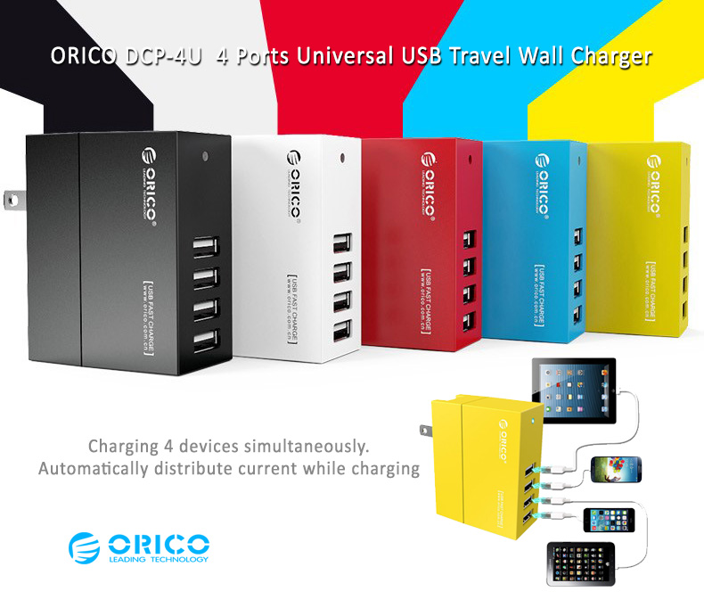 ORICO DCA-4U  4 Ports Universal USB Travel Wall Charger - Charging 4 devices simultaneously. Automatically distribute current while charging.