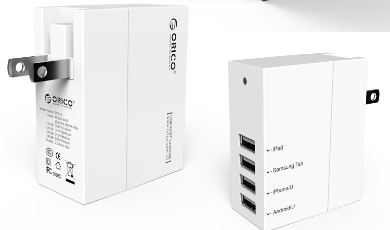 ORICO DCP-4U  4 Ports Universal USB Travel Wall Charger - Charging 4 devices simultaneously. Automatically distribute current while charging.