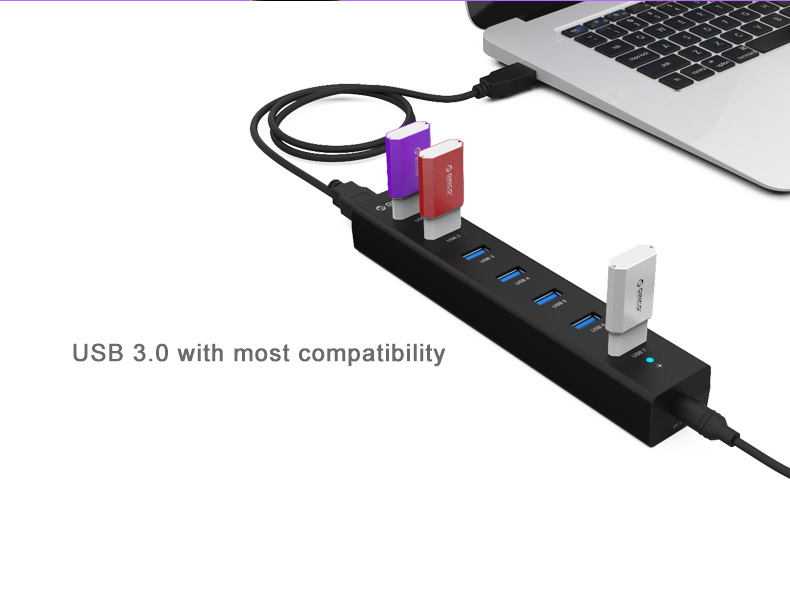 Orico H7013-U3 USB3.0 7 port high-speed hub- VIA top grade chip, Support up to 1T portable hard disk. Charging 7 devices simultaneously.