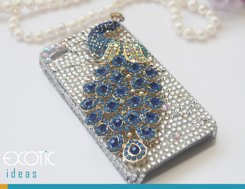 3D Fine Crystal Rhinestone Apple iPhone 5 Skin Case Cover - Blue Crystal Peacock  with Clear Crystal Base