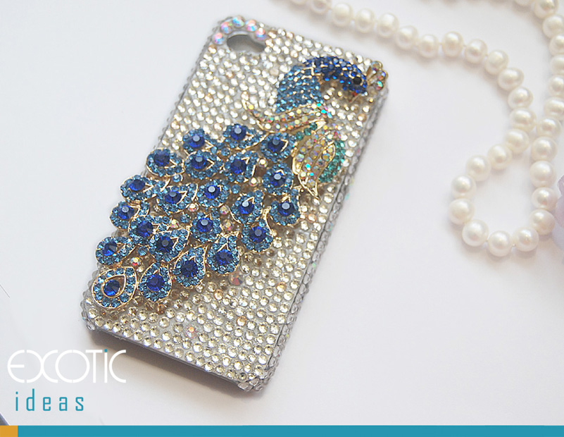 3D Fine Crystal Rhinestone Apple iPhone 4S / iPhone 4  Skin Case Cover - Blue Crystal Peacock  with Clear Crystal Base