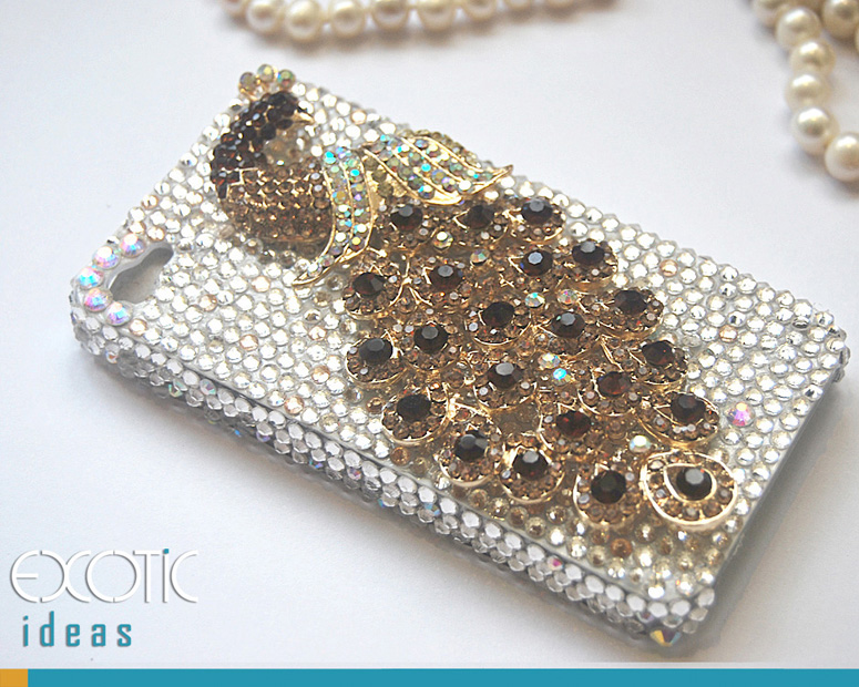 3D Fine Crystal Rhinestone Apple iPhone 4 4S Skin Case Cover - Golden Crystal Peacock  with Clear Crystal Base