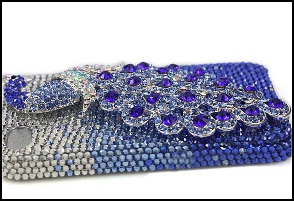 Fine Crystal Rhinestone 3D Apple iPhone 5 / 4S / 4 Skin Case Cover - Peacock - Blue Peacock  with Silver Crystal