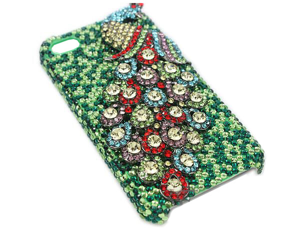 3D Fine Crystal Rhinestone Apple iPhone 5 Skin Case Cover - Colorful Peacock  with Green Crystal Base