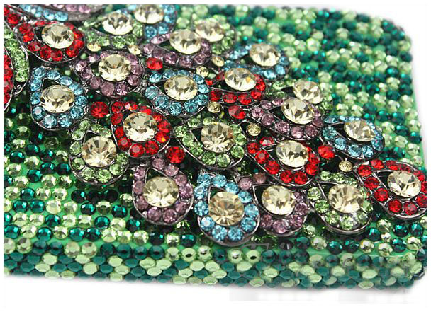 3D Fine Crystal Rhinestone Apple iPhone 4S / iPhone 4 Skin Case Cover - Colorful Peacock  with Green Crystal Base