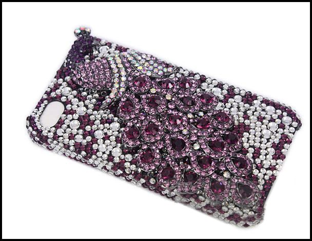 Crystal iPhone Case - Blue Peacock - purple back
