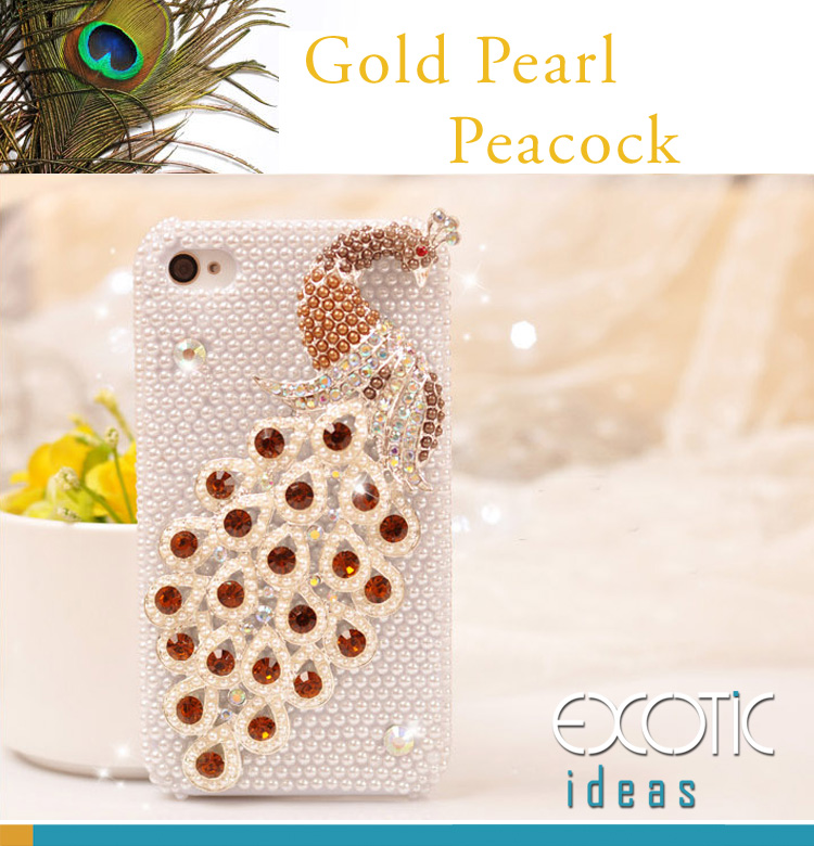 3D Fine Gold Crystal Rhinestone and Pearl Peacock Apple iPhone 4 4S Skin Case Cover - with Pearls Set Case