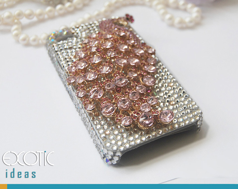 3D Fine Crystal Rhinestone Apple 5 Skin Case Cover - Big Pink Crystal Peacock  with Clear Crystal Base