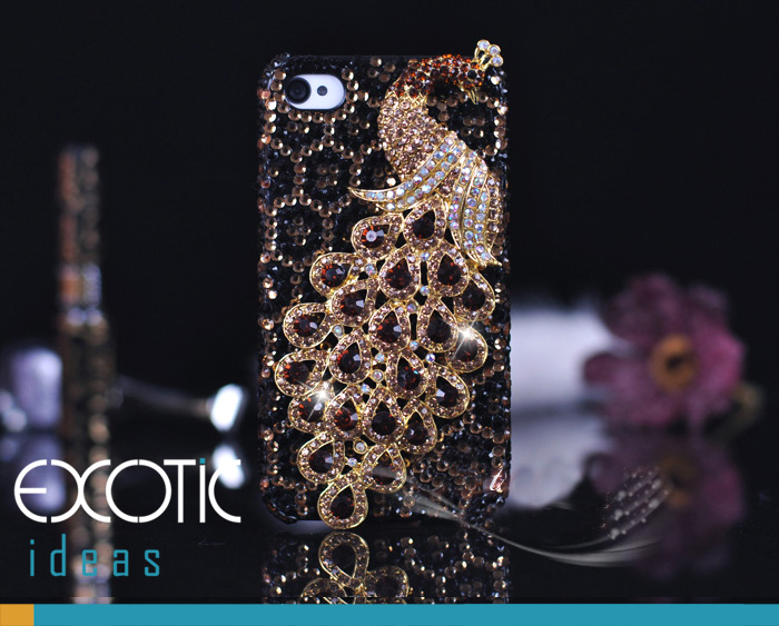Fine Crystal Rhinestone 3D Apple iPhone 4 4S Skin Case Cover - Gold Peacock  with Leopard Texture
